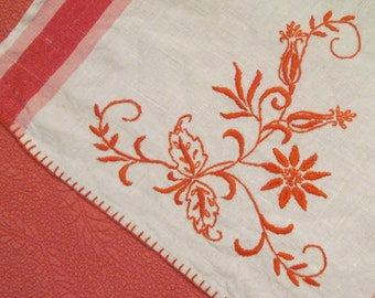 Vintage Handmade Linen Tea Towel/ Dish Towel - Embroidered Tea Towel - Persimmon/ Coral