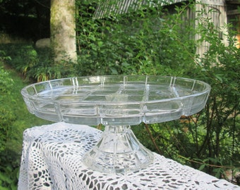 Vintage Pedestal Glass Cake Plate/ Serving Dish - Heavy Glass Serving Tray