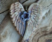 Midnight Blue and Red Flower Winged Porcelain Heart Pendant 1