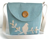 Messenger Bag - Adjustable Strap - Bird on Branch - Crossbody - Handmade Applique - Flower Buttons - Aquamarine Blue