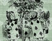 Digital Download Playing Cards painting Rose Bush, Alice in Wonderland digi stamp, digital stamp, Lewis Carroll Antique Illustration