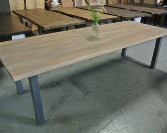 Custom Dining Table on Square Steel Legs