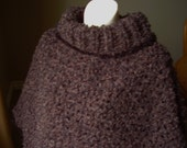 Crochet Earth Shades (Browns and Black) Soft Boucle Adult Poncho with Black  Trim