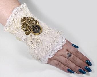 Steampunk Textile Cuff BRIDAL Wrist Cuff, Vintage White Lace Victorian Brass POPPY Filigree Watch Wedding - Steampunk Clothing by edmdesigns