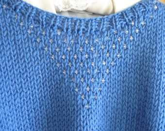 Blue Handknit Vest with Crystal Beaded Design for Ladies