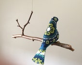 Single Bird Mobile  -  A Kinetic Beauty In Blue, Teal and Green