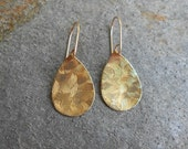 Textured Bronze Teardrop Disk Earrings