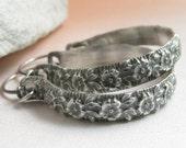 Summer Rose Sterling Silver Hoop Earrings, Floral Pattern Earrings, Romantic Silver Earrings, Metalwork Earrings, Contemporary Earrings