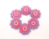 Scrapbooking Felt Flowers, Embellishments for Card Making, Hair Accessories, Pink and Baby Blue with Pink Buttons