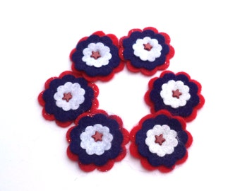 Felt Flowers Card Making Scrapbooking Embellishments for Hair Accessories, Red, White, Blue Red Stars