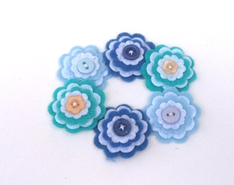 Scrapbooking Felt Flowers, Militia, Baby, Ocean Blue Flowers with Button Centers, Card Making Embellishements, Hair bow Crafting Supply
