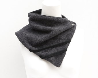 Gray and Black French Terry Scarflette Cowl Tube