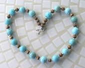 Turquoise and Wood with Silver Accents Beaded Necklace
