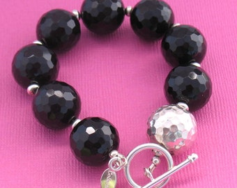 Faceted Black Onyx with Sterling Silver Beaded Asymmetrical Bracelet