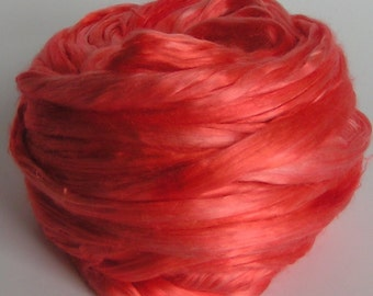 Silk Top Roving Sliver Cultivated Mulberry CORAL GABLES Supreme Luxurious Fine Quality Handspinning Felt Craft Fusion Florida Series2 oz