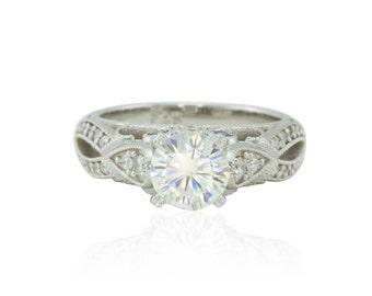 Forever Brilliant Moissanite Engagement Ring, 14k White Gold Moissanite Genuine Diamond and Natural Blue Sapphire Engagement Ring - LS4065