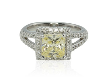 Engagement Ring, Princess Cut Canary Yellow CZ Engagement Ring in White Gold Filigree Basket Setting - Agatha Collection - LS4288