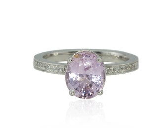 Pink Sapphire Engagement Ring - Oval cut Lavender Pink Sapphire Solitaire Ring with Heart Shaped Filigree Basket - LS4328