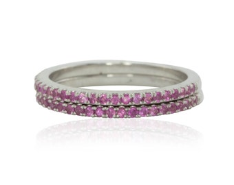 Wedding Bands, Pair of Matching Hot Pink Sapphire Wedding Bands in White Gold - LS4058