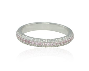 Wedding Band, 3 Row Micropave Wedding Ring with Diamond Borders and Light Pink Sapphire Stripe - Adeleine Collection - LS4368