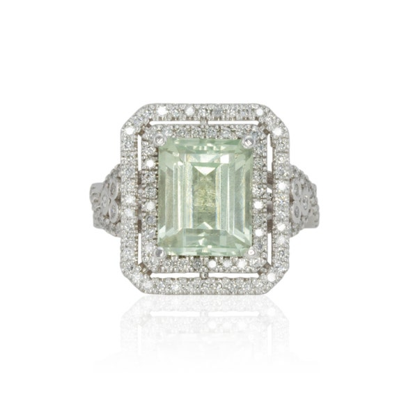 emerald cut prasiolite engagement ring with