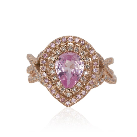 Pear Engagement Ring Light Pink Pear Cut Sapphire Engagement