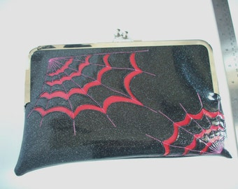 Clutch bag metalflake sparkle vinyl black with hot pink spiderwebs