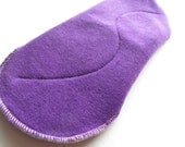 Organic Bamboo Velour Mama Cloth Pad With Wings .. 10 inches Heavy Flow .. Jewel Tone Purple Hand Dyed FREE Shipping