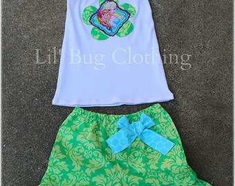 Custom Boutique Disney Frozen Elsa Summer Short And Halter Damask 12 18 24 2t 3t 4t 5t 6 7 8 9 10