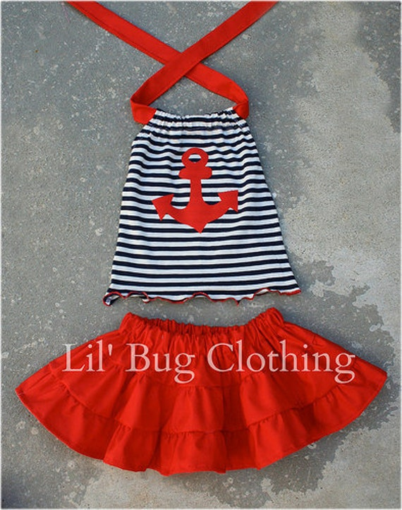 Custom Boutique Clothing Knit Stripes Halter Nautical Anchor Tiered Skirt Halter
