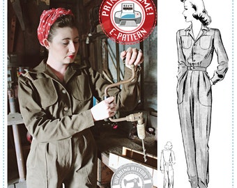 E-PATTERN- Phyllis- 1940s WWII 1940s Air Raid Suit or Coverall- PDF Sewing Pattern