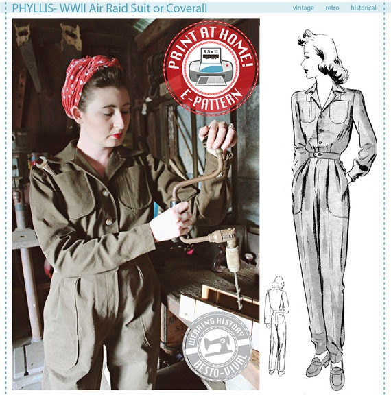 Vintage Overalls 1910s -1950s Pictures and History 1940s WWII 1940s Air Raid Suit or Coverall- PDF Sewing Pattern $12.00 AT vintagedancer.com