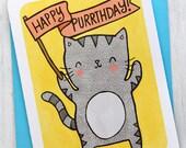 Happy Purrthday Kitty Cat - Birthday Card