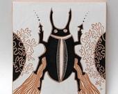 big beetle hand-carved ceramic art tile