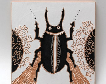 big beetle hand-carved ceramic art tile
