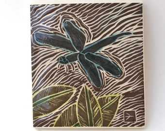 dragonfly hand carved ceramic art tile