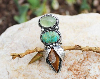 Blooming Pod Rustic Bohemian Turquoise, Prehnite and Fawn Jasper Bezeled in Sterling Silver Ring, Size 6.75, ring, gypsy, cowgirl, boho
