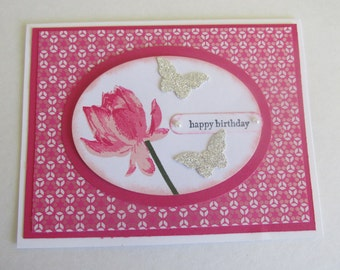 Pink Lotus Blossom Happy Birthday Handmade Greeting Card Silver Glitter Butterflies Pearl Accents