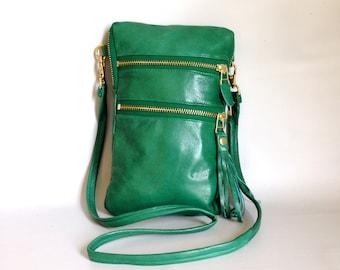 Tall leather passport bag - emerald green