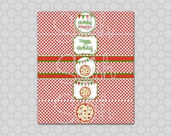 Pizza Party Birthday Party Water Bottle Labels Wraps - INSTANT DOWNLOAD