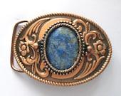 Belt Buckle Lapis Lazuli Navy Stone Copper Tone Scrolled Western Style