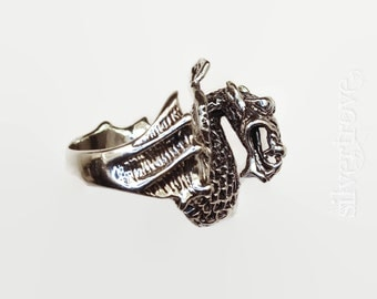 Sterling Silver Dragon Ring, Size 7 Ring, Big Chinese Dragon Ring, Lost Wax Casting, Chunky Silver Ring, Fire-Breathing Dragon Ring