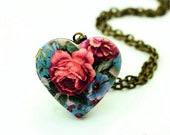 1pcs Rose Heart Locket Necklace, Pink Flower Heart Locket Charm Pendant, Antique Bronze Brass Locket - HLK908Q