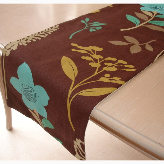 Table Runner 48 120cm Blue Brown Cream Gold Flowers By