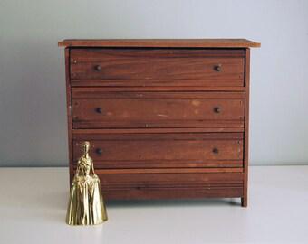 Wood Doll Dresser, Miniature Furniture, Wood Storage Box, Rustic Jewelry Box, Organizer, Handmade Doll Furniture, Chest of Drawers