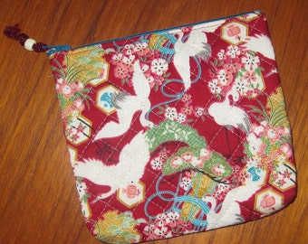 Quilted Travel Earring Cosmetic Pouch Cranes Design Japanese Asian Fabric