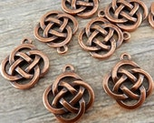 Open CELTIC KNOT Charms, Antique Copper, Knotwork Pendants, Qty 4 to 20 Charms, Tierracast, Yoga Meditaton Knot Work Charms