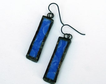 EARRINGS - Stained Glass Earrings - Blue Rectangular Earrings