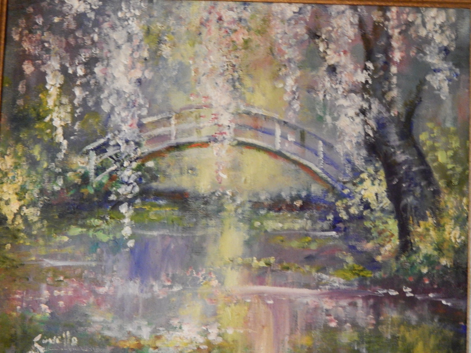 Oil painting bridge over water with cherry blossoms for Canvas painting of cherry blossoms