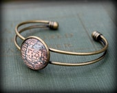 Ohio Map Bangle Bracelet - Custom Map Jewelry - Midwest - Canton - Cleveland - Columbus - Cincinnati - Dayton - Toledo - Akron - Athens